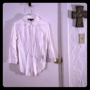 Elizabeth and James white linen shirt  back detail